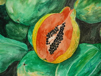 Fresh Papaya For Sale Print by Estephy Sabin Figueroa