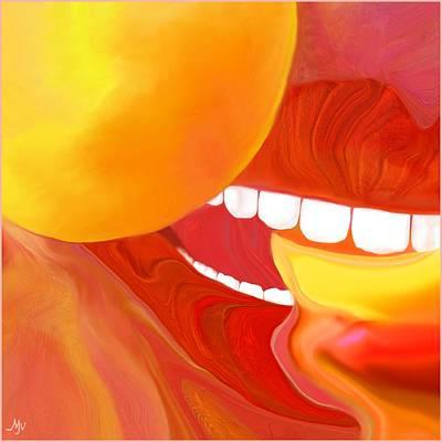 Fresh Peaches Taste Like Sunshine Print by Mathilde Vhargon