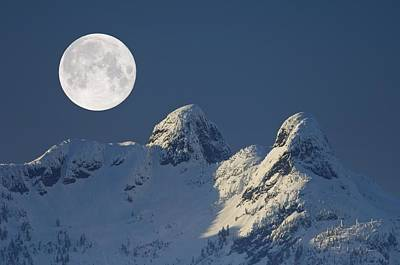 Full Moon Over The Lions, Canada Print by David Nunuk