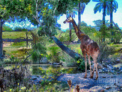 Babbling Brook Painting - George The Giraffe by Elinor Mavor