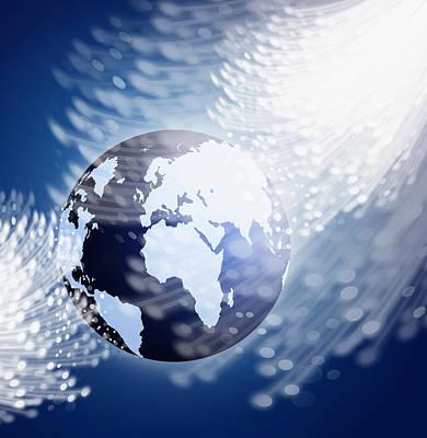 Globe With Fiber Optics Print by Setsiri Silapasuwanchai