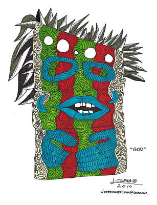Primitive Drawing - god by Jerry Conner