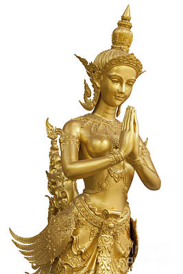 Goldent Ginnaree Statue Art  Original by Anek Suwannaphoom