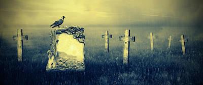 Creepy Digital Art - Gravestones In Moonlight by Jaroslaw Grudzinski