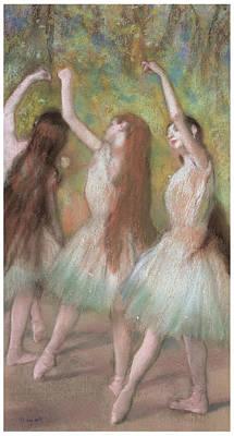 Green Dancers Print by Edgar Degas