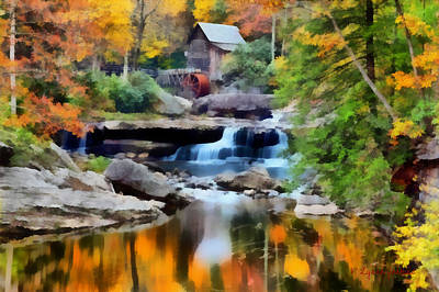 Glade Creek Painting - Grist Mill In Autumn by Lynne Jenkins
