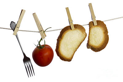 Bread Line Photograph - Hanging Food by Blink Images
