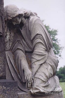 Gravestone Photograph - Haunting Cemetery Female Mourner On Grave by Kathy Fornal