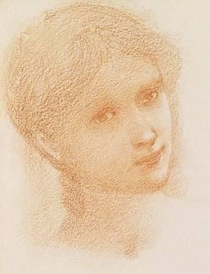 Soft Drawing - Head Study Of A Girl by Sir Edward Burne-Jones