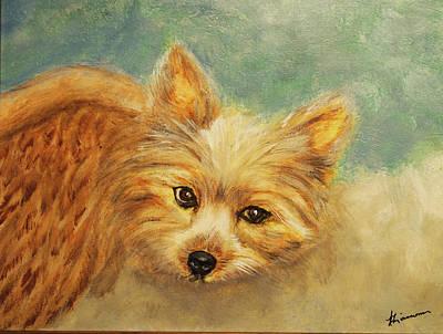 Dog Painting - Heavenly Yorkie by Veronica Zimmerman