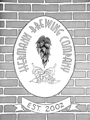 Changing Leaves Drawing - Hermann Brewing Company by Joseph Hendrix