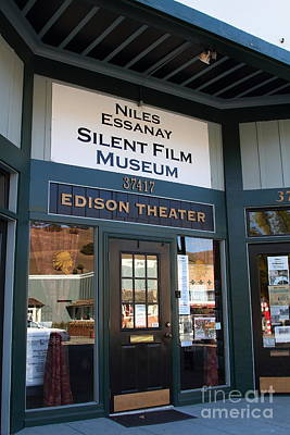 Historic Niles District In California Near Fremont . Niles Essanay Silent Film Museum Edison Theater Print by Wingsdomain Art and Photography