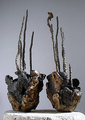 Hypertufa Sculpture - Hypertufa Primitive Pottery Sculptures by Randy Stewart