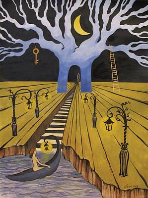 Wet On Wet Drawing - In The Maze Of Strange Dreams by Valentina Plishchina