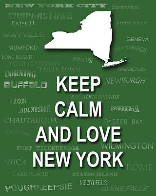 Hyde Park Digital Art - Keep Calm And Love New York State Map City Typography by Keith Webber Jr