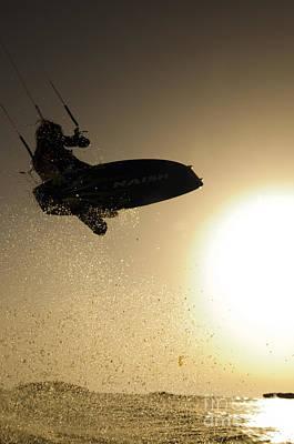Kitesurfing At Sunset Print by Hagai Nativ