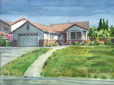 House Portrait Painting - Linda's House by Donald Maier
