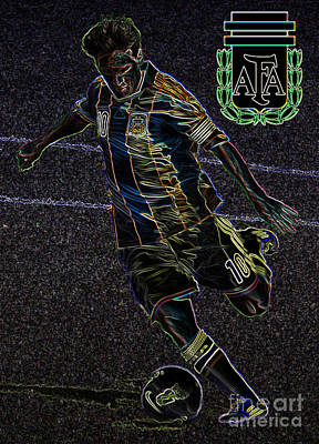 Lionel Messi Kicking Viii Print by Lee Dos Santos