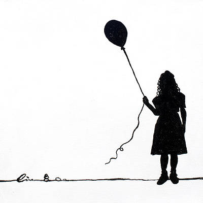 Little Girls On Little Canvas  Print by Cindy D Chinn