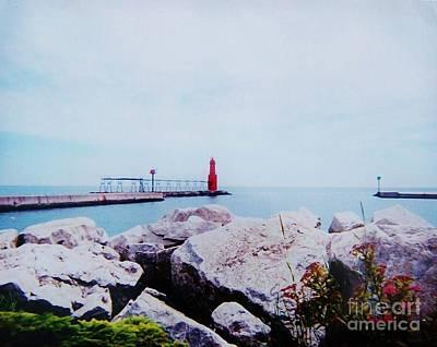 Little Red Lighthouse Print by Marsha Heiken