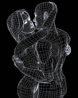 Black And White Nude Couple Photograph - Love by Coneyl Jay