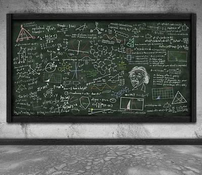 Exam Photograph - Maths Formula On Chalkboard by Setsiri Silapasuwanchai