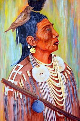 Rawhide Painting - Medicine Crow-warrior by Janna Columbus