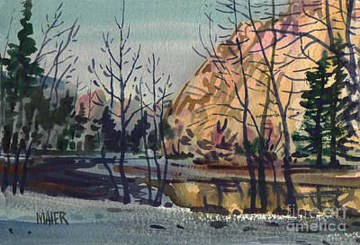 Merced River In Winter Original by Donald Maier