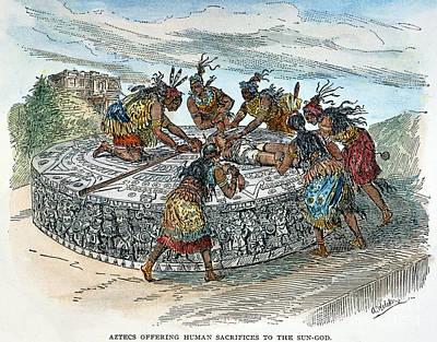 Precolumbian Photograph - Mexico: Aztec Sacrifice by Granger