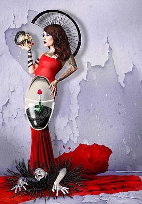 Mystical Women Mixed Media - Miss Tulip by Ausra Kel