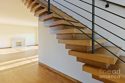 Modern Wood Staircase Print by Jeremy Woodhouse