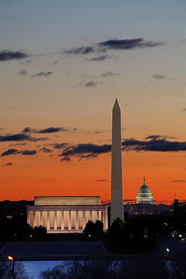 Monuments At Sunrise Print by Metro DC Photography