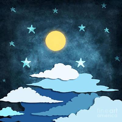 Moon And Stars Print by Setsiri Silapasuwanchai