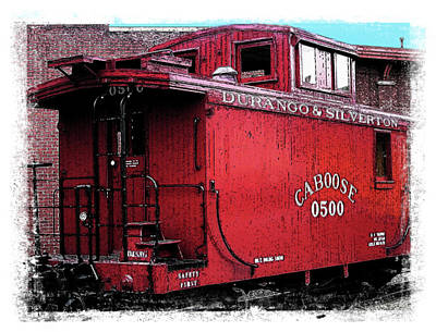 Old Caboose Digital Art - My Little Red Caboose by Gary Baird