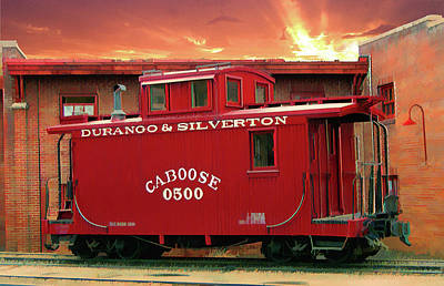 Old Caboose Digital Art - My Little Red Caboose Too by Gary Baird