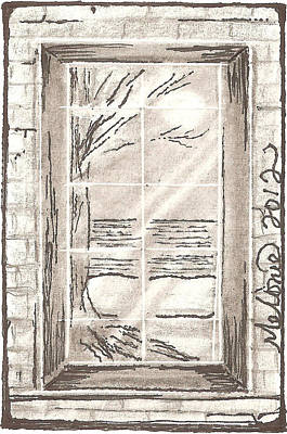 Maine Winter Drawing - Narrow Viewpoint by Melonie King