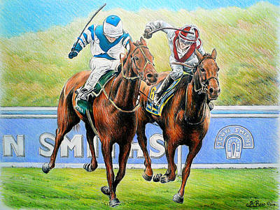 Jockey Drawing - Nearing The Finish by Andrew Read