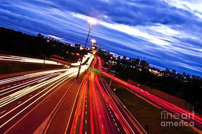Night Traffic Print by Elena Elisseeva