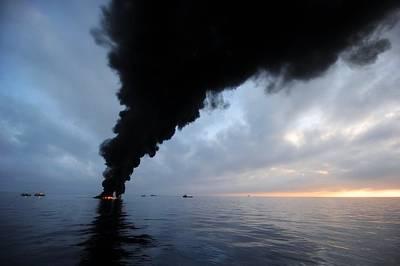 Oil Spill Burning, Usa Print by U.s. Coast Guard