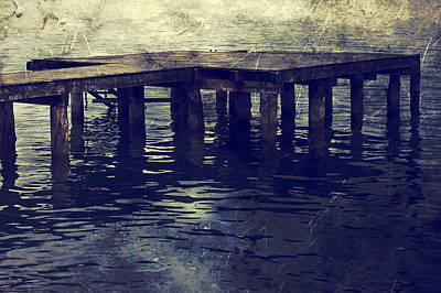 Old Wooden Pier With Stairs Into The Lake Print by Joana Kruse
