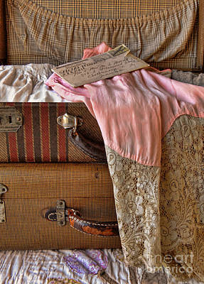 Early 1900s Photograph - Open Vintage Suitcase With Letter And Lace by Jill Battaglia