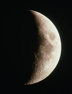 Optical Image Of A Waxing Crescent Moon Print by John Sanford