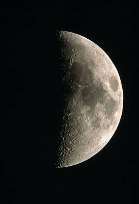 Optical Image Of A Waxing Half Moon Print by John Sanford