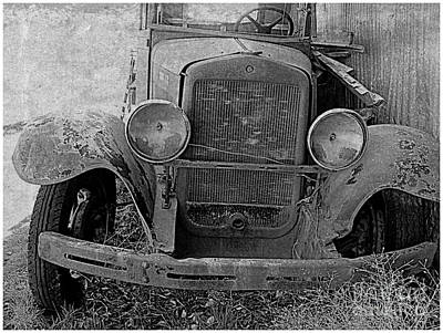 Antic Car Photograph - Out Of Service In Black And White by Irina Hays