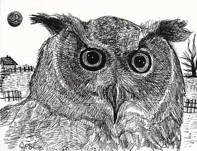 Owl  Print by Jon Baldwin  Art