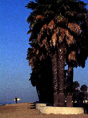 Palm Trees At Surfers Point Print by Ron Regalado