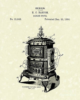 Heat Drawing - Parlor Stove Bascom 1884 Patent Art by Prior Art Design