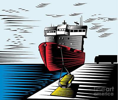 Passenger Ship Ferry Boat Anchor Retro Print by Aloysius Patrimonio