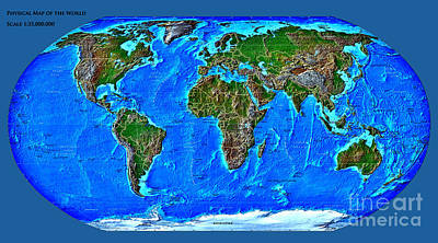 Physical Map Of The World Print by Theodora Brown