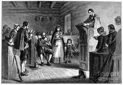 Sermon Photograph - Pilgrims At Church by Granger